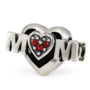 Ohm Mom Heart European Bead