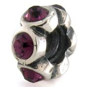 Ohm February BIRTHSTONE Amethyst Crystal European Bead