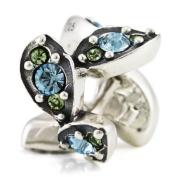 Ohm March Crystal Leaf European Bead