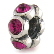 OhmBeads July Ruby Crystal European Bead