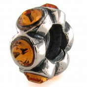 OhmBeads November Topaz Crystal European Bead