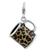 Sterling Silver Enamelled 3-d Leopard Mug W/lobster Clasp Charm, Best Quality Free Gift Box Satisfaction Guaranteed