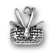 Sterling Silver Partially Open Picnic Basket Charm