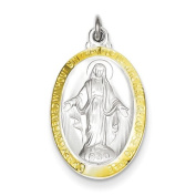 Sterling Silver Polished Miraculous Medal. Metal Wt- 3.9g