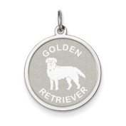 Sterling Silver Golden Retriever Disc Charm - JewelryWeb