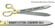 "Pre-Laser Engraved ""RIBBON CUTTING CEREMONY 5120cm 50cm Gold Plated Handles Ceremonial Ribbon Cutting Scissors"