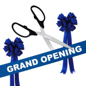Grand Opening Kit - 90cm Black/Silver Ceremonial Ribbon Cutting Scissors with 5 Yards of 15cm Royal Blue Grand Opening Ribbon and 2 Royal Blue Bows