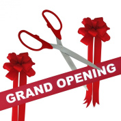 Grand Opening Kit - 90cm Red/Silver Ceremonial Ribbon Cutting Scissors with 5 Yards of 15cm Red Grand Opening Ribbon and 2 Red Bows
