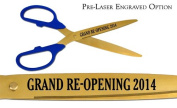"""Pre-Laser Engraved """"GRAND RE-OPENING 5120cm 90cm Blue/Gold Ceremonial Ribbon Cutting Scissors"""