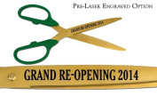 """Pre-Laser Engraved """"GRAND RE-OPENING 5120cm 90cm Green/Gold Ceremonial Ribbon Cutting Scissors"""