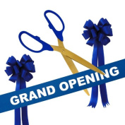 Grand Opening Kit - 90cm Blue/Gold Ceremonial Ribbon Cutting Scissors with 5 Yards of 15cm Royal Blue Grand Opening Ribbon and 2 Royal Blue Bows