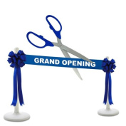 Deluxe Grand Opening Kit - 60cm Blue/Silver Ceremonial Ribbon Cutting Scissors with 5 Yards of 15cm Royal Blue Grand Opening Ribbon, 2 Royal Blue Bows and 2 White Plastic Stanchions