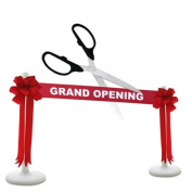 Deluxe Grand Opening Kit - 60cm Black/Silver Ceremonial Ribbon Cutting Scissors with 5 Yards of 15cm Red Grand Opening Ribbon, 2 Red Bows and 2 White Plastic Stanchions