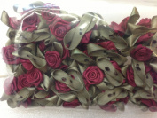 Ribbon Roses Ribbon Flowers with Green Leaves Burgundy Colour - Value Pack 72 Pcs