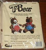 Pre-Printed T-Bear Pattern for Making One Boy or Girl Teddy Bear, Clothing Pattern Included