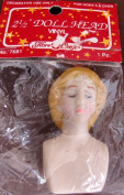 Fibre Craft VINYL DOLL HEAD 5.1cm - 1.3cm w CLOSED EYES & Moulded BLONDE HAIR
