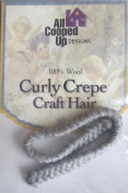 All Cooped Up Craft CURLY CREPE DOLL HAIR 100% Pull Wool grey CREPE Colour 30cm BRAID