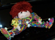 """Floppy Fabric Clown Doll- 36cm Tall """"Leslie the Mop Clown"""" Pattern with Instructions on Paper /016/Made from Craft Velour"""