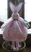 """Cloth Soft Sculpture Girl Bunny Pattern w/ Instruction CD/143/ """"Bambi Buttons"""" 46cm Doll -Girl/ Made from White Craft Velour"""