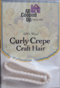 All Cooped Up Craft CURLY CREPE DOLL HAIR 100% Pull Wool WHITE CREPE Colour 30cm BRAID