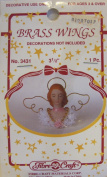 Fibre Craft PACK of 1 BRASS 'ANGEL' WINGS 7.6cm - 1.3cm x 5.1cm - 1.3cm Wide w HALO