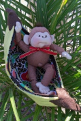 Soft Sculpture Monkey in a Banana-Pattern with Instruction CD/158/Newt 23cm - Make from Windsor Fabric / Felt Banana