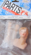Spare Parts Craft 1 SET of PORCELAIN LADIES DOLL HEAD (Slanted) & HANDS 2.5cm - 1.9cm Long w (Moulded) DARK BLONDE HAIR