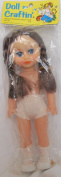 Doll Crafting TINA Vinyl DOLL 25cm Tall w MOVING Blue EYES, Combable BROWN Braided HAIR, PAIR of PANTIES, SOCKS & SHOES