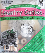 One & Only Craft COUNTRY CUTIES Wood CANDLE CUP DOLL Making Kit 'LIBBY LAMB' w HARDWOOD PARTS, HAIR & More