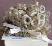 WEE 3 Craft DOLL HAIR WIG Style MADELINE (MD1) Fits SIZE 15cm - 19cm Colour BLONDE (E-6) Hair has Bangs & Curls w/Ribbon