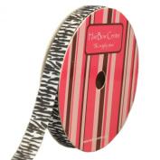 1cm White w/ Black Zebra Animal Print Grosgrain Ribbon 10 yard Reel