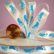 Baby Footprint Satin Print Ribbon - Baby Blue - 10 Yd - 1cm
