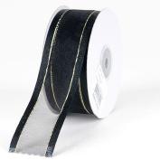 Black with Gold Edge Organza Ribbon Gold Satin Edge 1.6cm 25 Yards