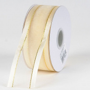 Ivory Organza Ribbon Gold Satin Edge 1.6cm 25 Yards