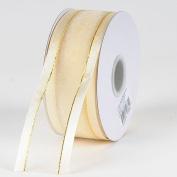 Ivory Organza Ribbon Gold Satin Edge 1.6cm 25 Yards