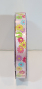 Jo-ann's Holiday Inspirations Easter Ribbon,pink with Pastel Flowers,glitter,1cm x 9ft.