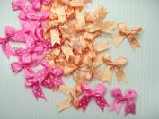 Polka Dot Satin Ribbon Bows Orange and Pink for Perfect Diy- Applique, Scrapbook, Card Trims Craft- 7 Mm. 50 Pcs.