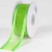 Apple Green Organza Ribbon Gold Satin Edge 2.2cm 25 Yards