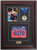 Triumph Marathon and Triathlon Photo, Finishing Medal and Race Bib Framing Kit - Library Mahogany