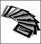 20 Assorted Size Picture Mounts - Black & Silver