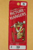 Concrete and Brick Picture Hangers N (Set of 2 with Nails) Size #30