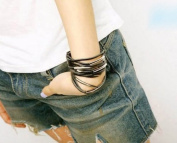 Punk Multi-layer Leather Metal Ring Width Bracelet