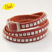 Hair Glove Triple Wrap Studs Red Leather Bracelet 84041