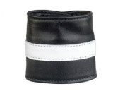 LEATHER WRIST CUFF, MONEY WALLET WRIST CUFF, WHITE STRIPE, LOW PRICE, NEW, ADJUSTABLE WITH SNAP BUTTON BY SBL