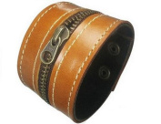 LEATHER WRIST CUFF, ZIP WRIST CUFF, LOW PRICE, NEW, ADJUSTABLE WITH SNAP BUTTON BY SBL