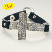 Hair Glove Silver Crystal Cross & Black Leather Bracelet 84037