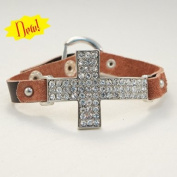 Hair Glove Silver Crystal Cross & Brown Leather Bracelet 84038