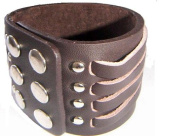 LEATHER WRIST CUFF, ELEGANT DESIGN LOW PRICE, NEW, ADJUSTABLE WITH SNAP BUTTON BY SBL