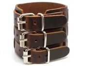 LEATHER 3 BUCKLE WRIST CUFF, LOW PRICE, NEW, ADJUSTABLE WITH BUCKLE STRAPS BY SBL