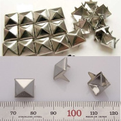 Xfy DIY Goth Punk Spikes Spots 10mm Silver Flat Back Metal Pyramid Studs 4 Prongs Leathercraft 100 PCS